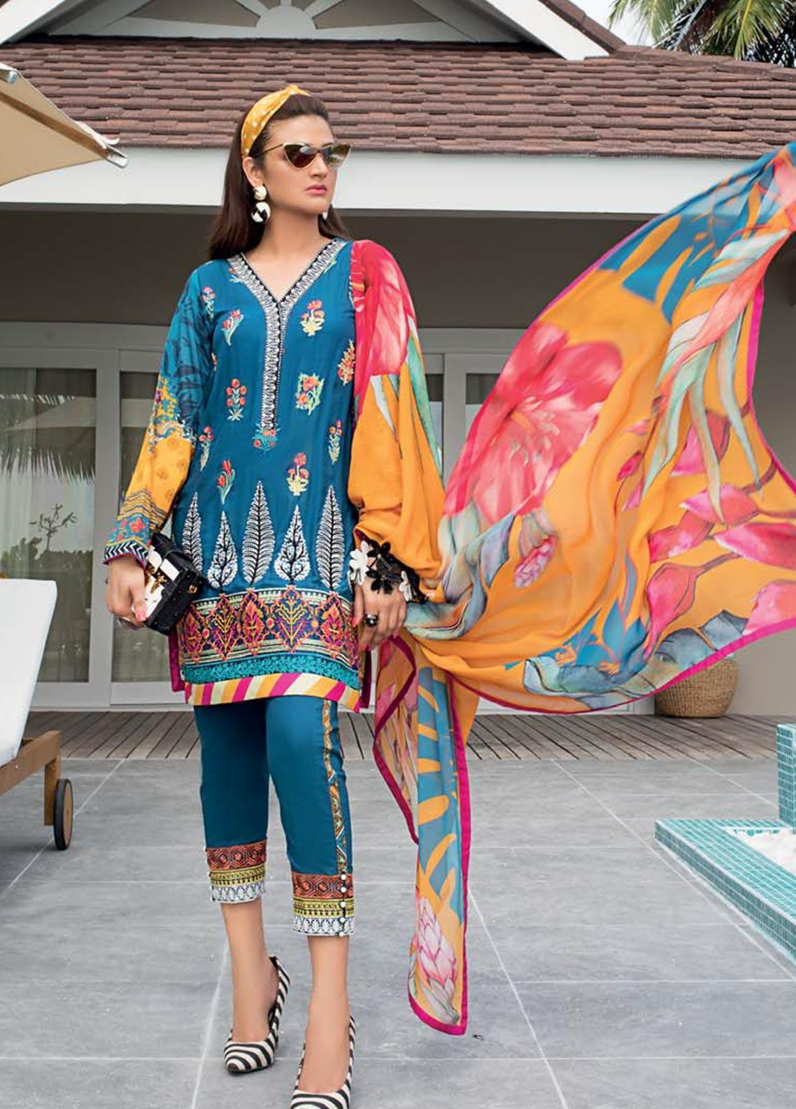 Zainab Chottani Embroidered Lawn Unstitched 3 Piece Suit ZC20LL 5A - Luxury Collection