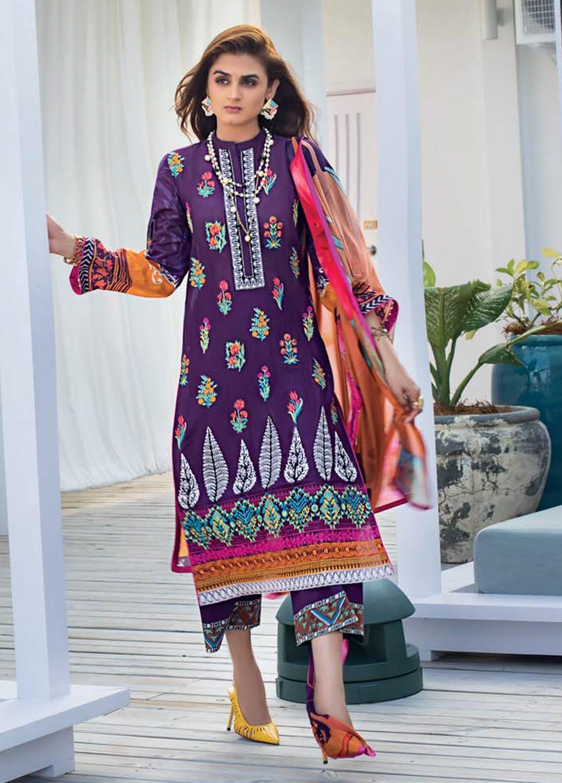 Zainab Chottani Embroidered Lawn Unstitched 3 Piece Suit ZC20LL 5B - Luxury Collection