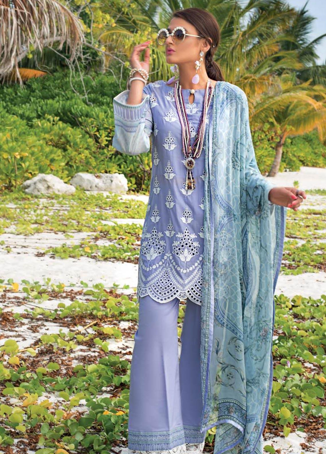 Zainab Chottani Embroidered Chikankari Unstitched 3 Piece Suit ZC20LL 9B - Luxury Collection