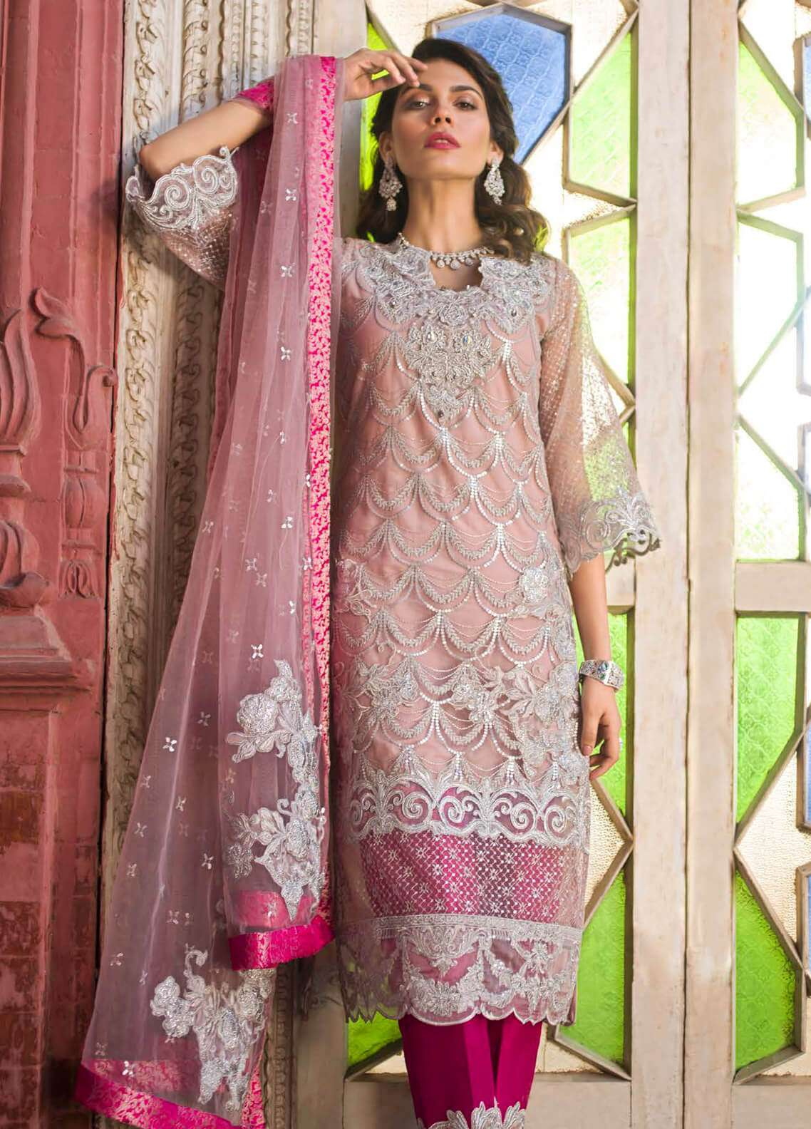 Zainab Chottani Embroidered Zari Net Unstitched 3 Piece Suit ZC19W 03 - Wedding Collection