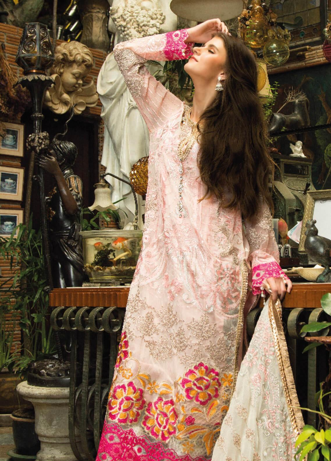 Zainab Qayoom Embroidered Chiffon Unstitched 3 Piece Suit ZQ19C 01 - Luxury Collection