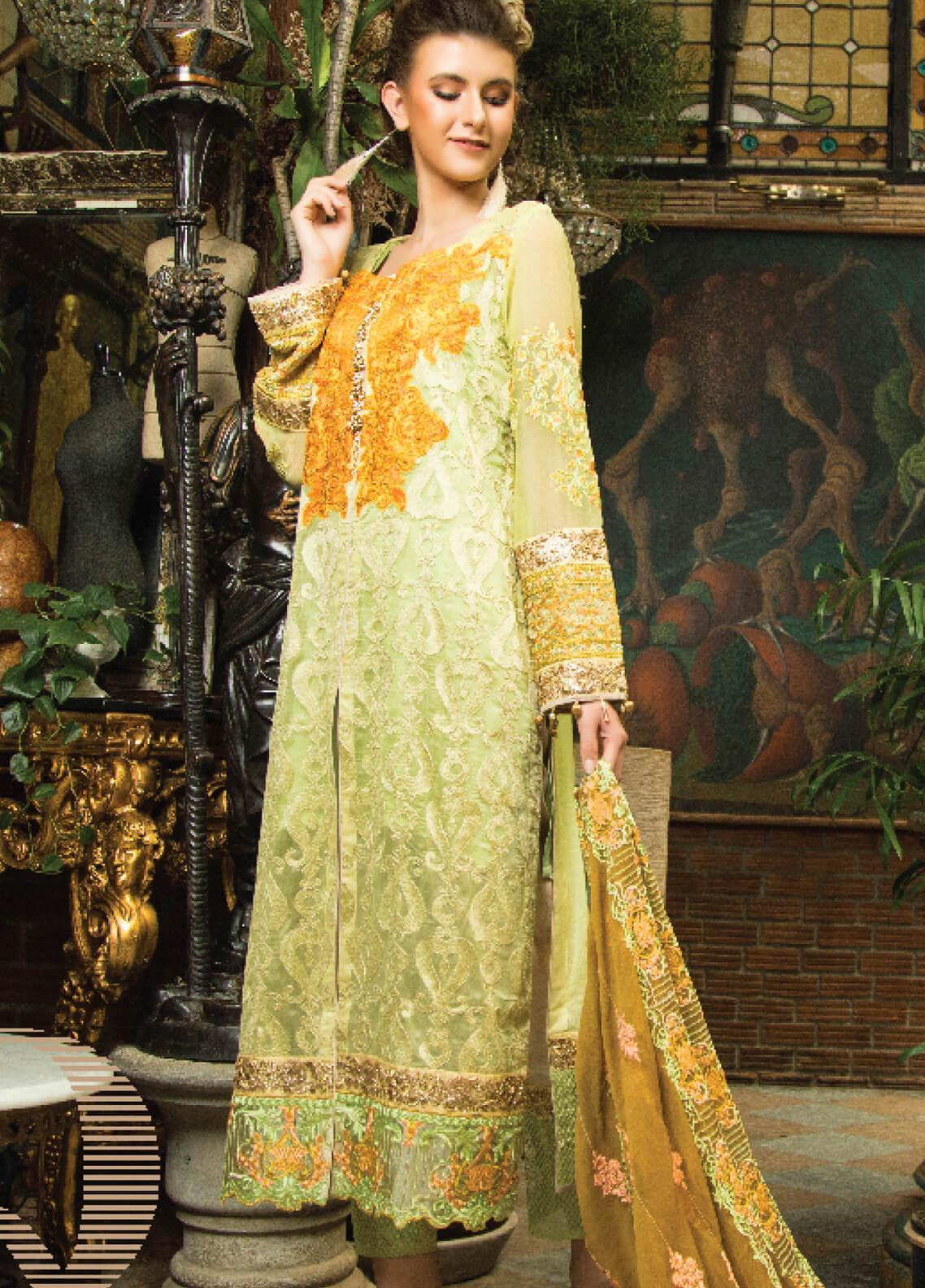 Zainab Qayoom Embroidered Chiffon Unstitched 3 Piece Suit ZQ19C 04 - Luxury Collection