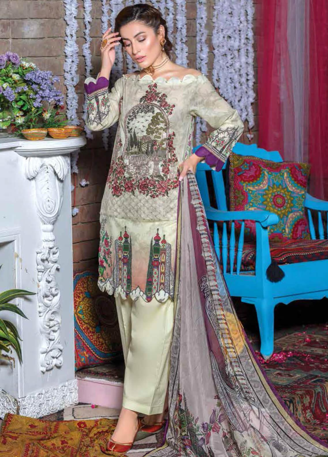 Zara Ali by Magns Textiles Embroidered Lawn Unstitched 3 Piece Suit ZRA19F 10A - Festive Collection