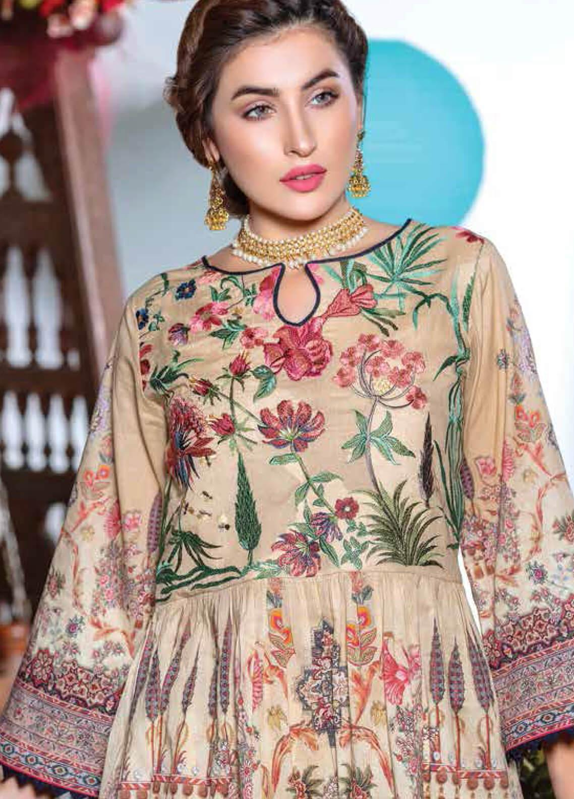 Zara Ali by Magns Textiles Embroidered Lawn Unstitched 3 Piece Suit ZRA19F 11A - Festive Collection