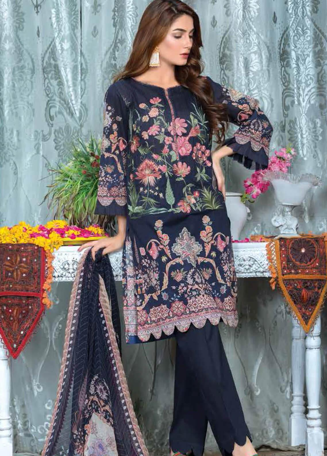 Zara Ali by Magns Textiles Embroidered Lawn Unstitched 3 Piece Suit ZRA19F 11B - Festive Collection