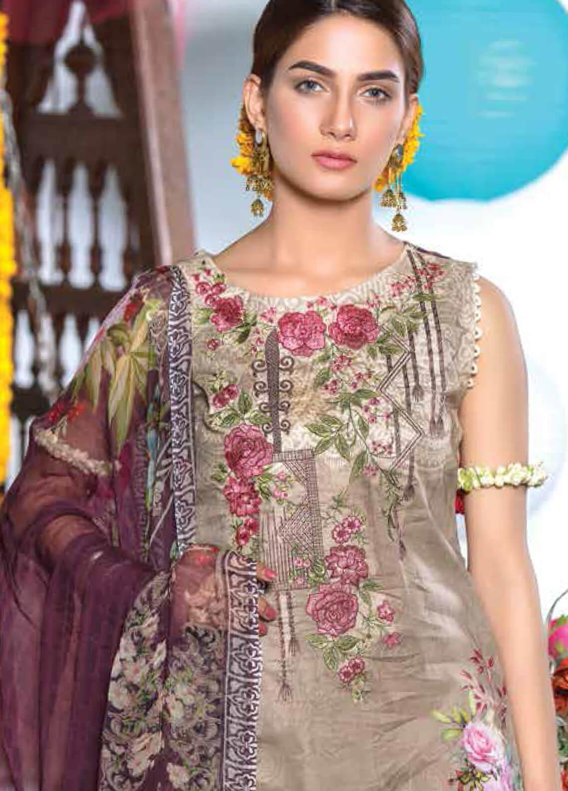 Zara Ali by Magns Textiles Embroidered Lawn Unstitched 3 Piece Suit ZRA19F 3A - Festive Collection