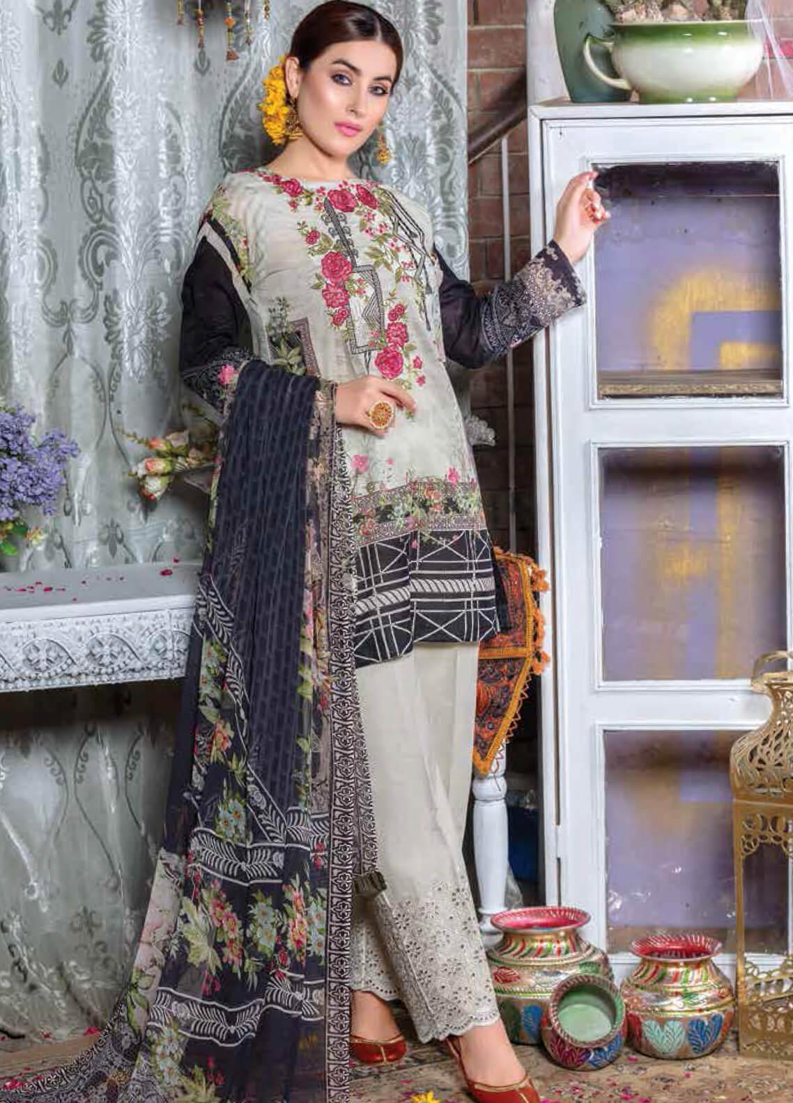 Zara Ali by Magns Textiles Embroidered Lawn Unstitched 3 Piece Suit ZRA19F 3B - Festive Collection