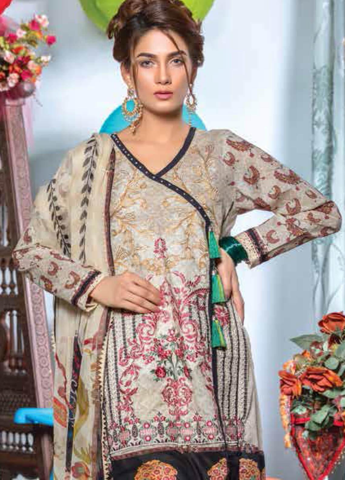 Zara Ali by Magns Textiles Embroidered Lawn Unstitched 3 Piece Suit ZRA19F 7A - Festive Collection