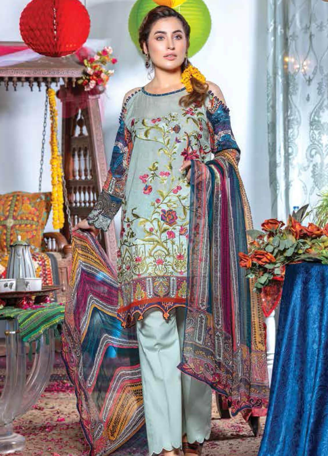 Zara Ali by Magns Textiles Embroidered Lawn Unstitched 3 Piece Suit ZRA19F 8B - Festive Collection
