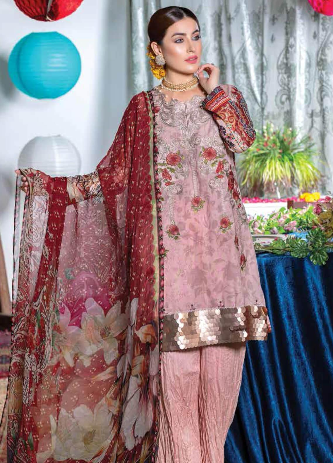 Zara Ali by Magns Textiles Embroidered Lawn Unstitched 3 Piece Suit ZRA19F 9A - Festive Collection
