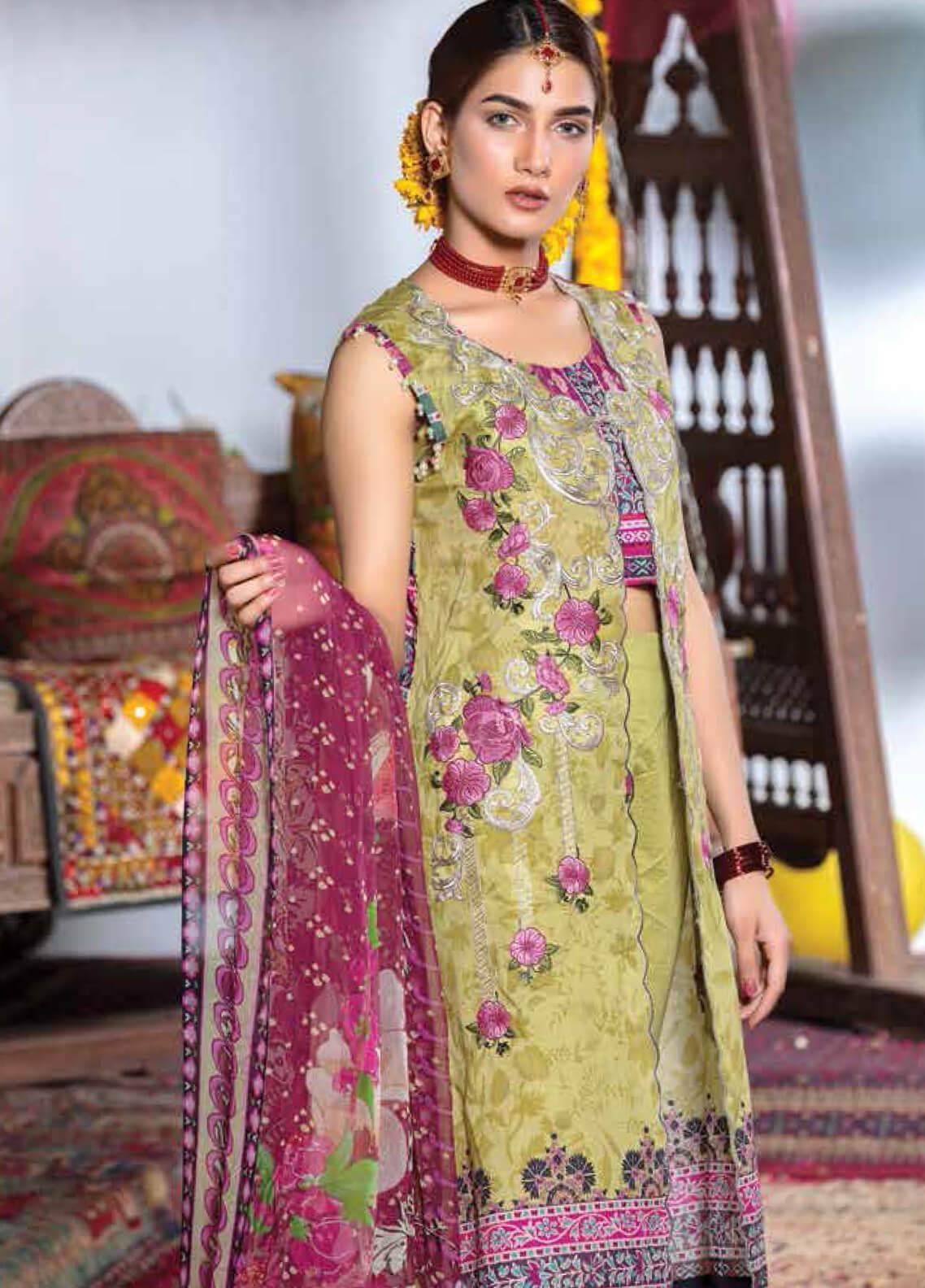 Zara Ali by Magns Textiles Embroidered Lawn Unstitched 3 Piece Suit ZRA19F 9B - Festive Collection