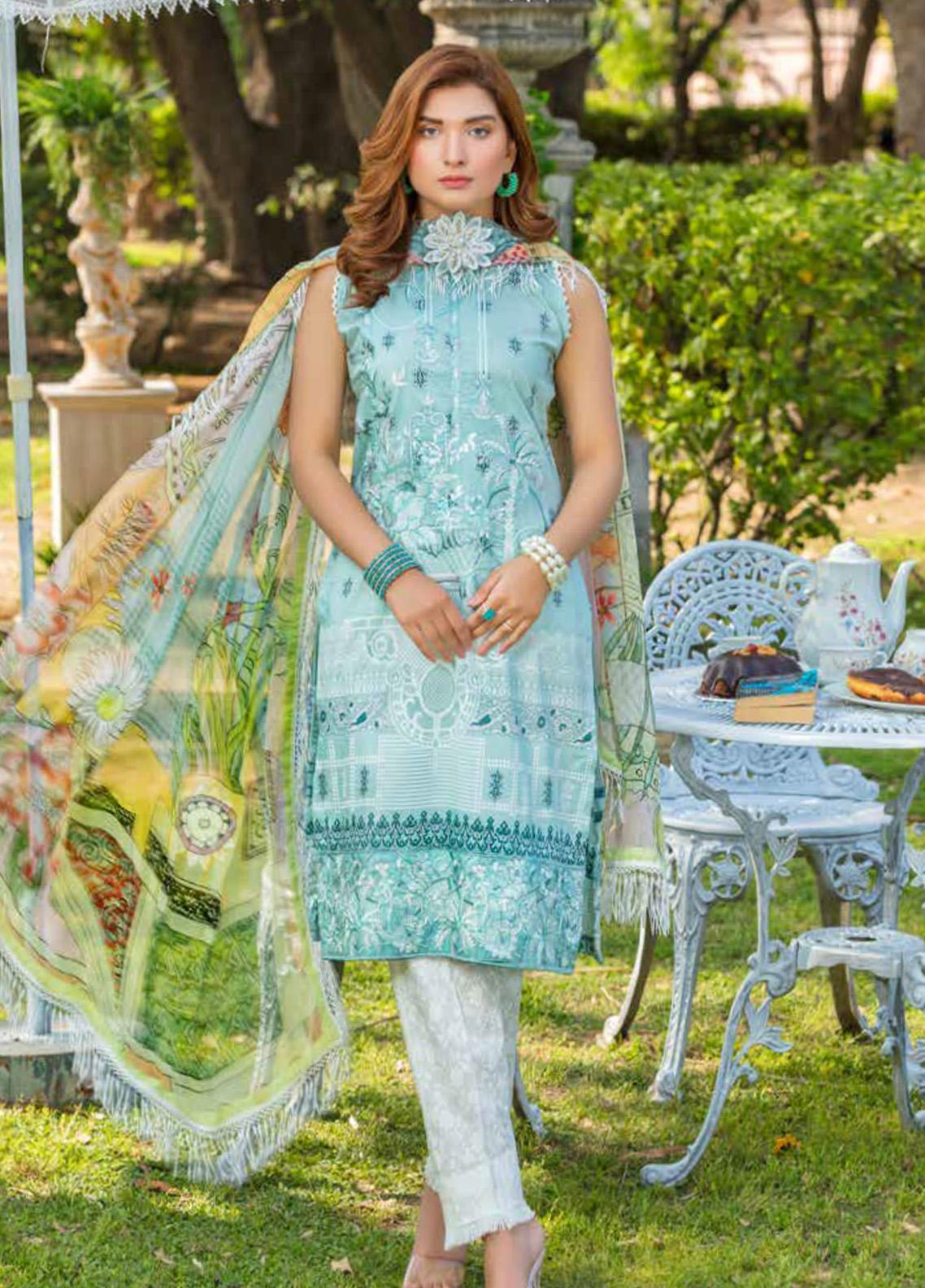 Zara Ali by Magns Textiles Embroidered Lawn Unstitched 3 Piece Suit ZRA20F 2B - Summer Collection