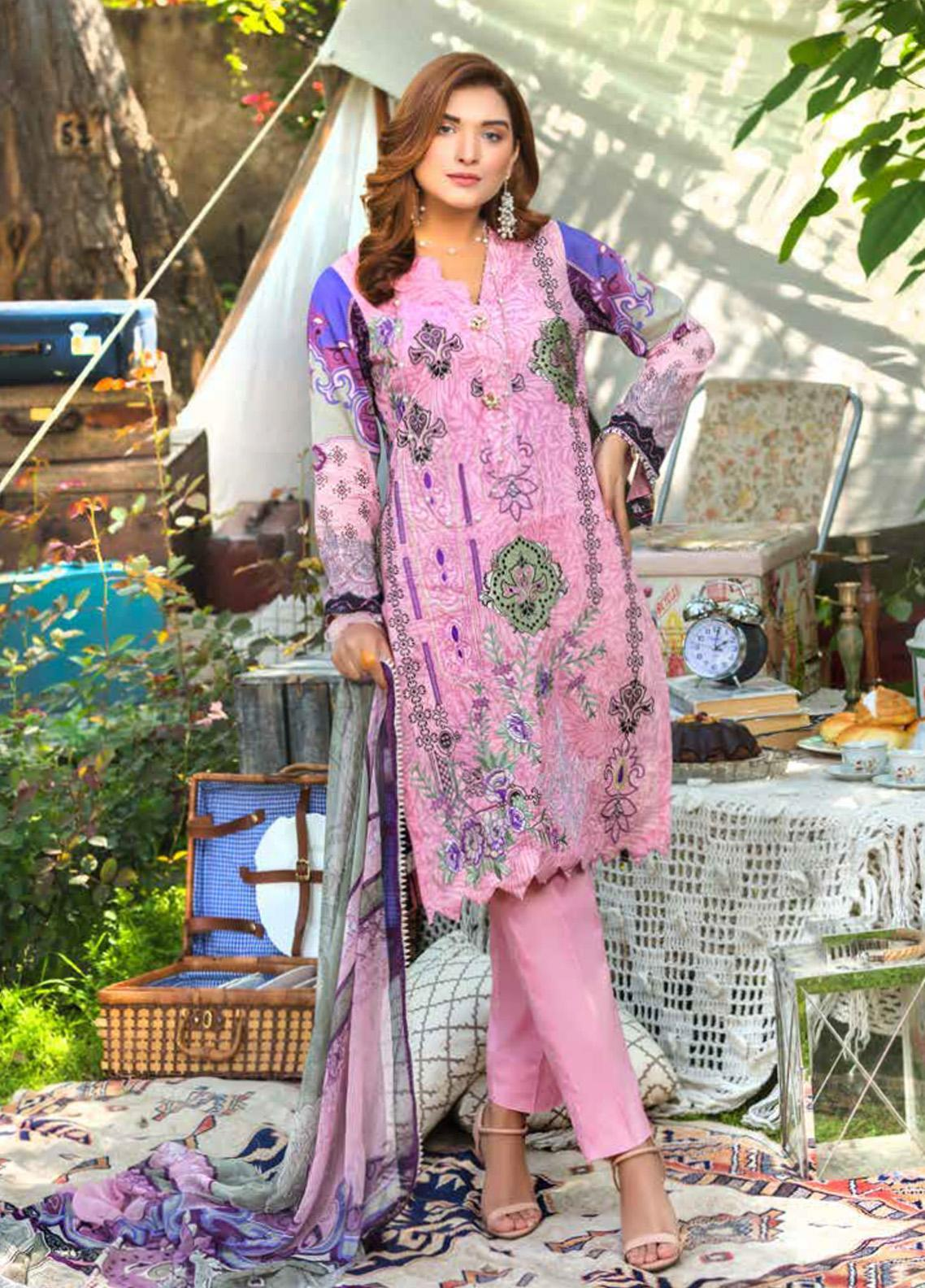 Zara Ali by Magns Textiles Embroidered Lawn Unstitched 3 Piece Suit ZRA20F 7A - Summer Collection