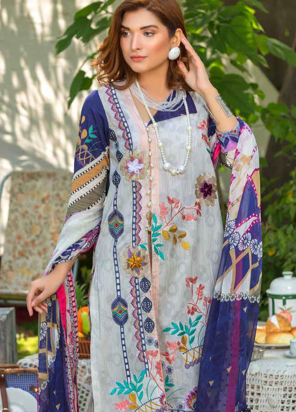 Zara Ali by Magns Textiles Embroidered Lawn Unstitched 3 Piece Suit ZRA20F 8A - Summer Collection