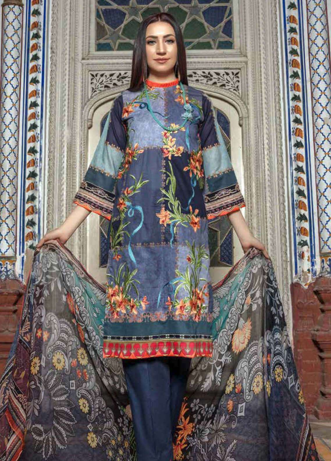 Zara Ali by Magns Textiles Embroidered Lawn Unstitched 3 Piece Suit ZRA19SL 4A - Spring / Summer Collection
