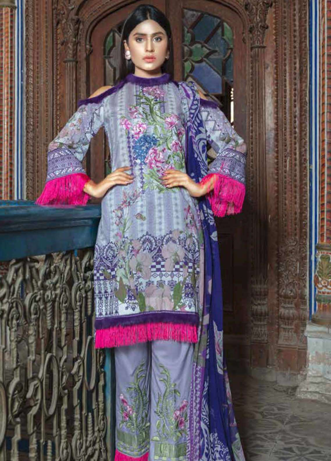 Zara Ali by Magns Textiles Embroidered Lawn Unstitched 3 Piece Suit ZRA19SL 7B - Spring / Summer Collection