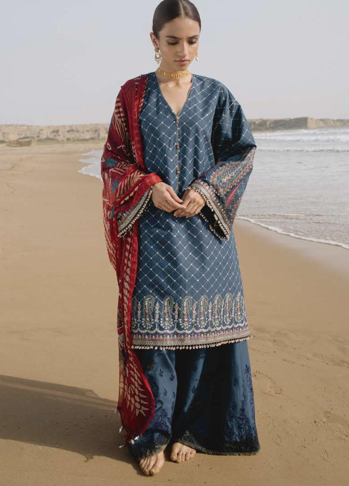 Zara Shahjahan Embroidered Lawn Unstitched 3 Piece Suit ZSJ19LH 6 FEROZA - Festive Collection