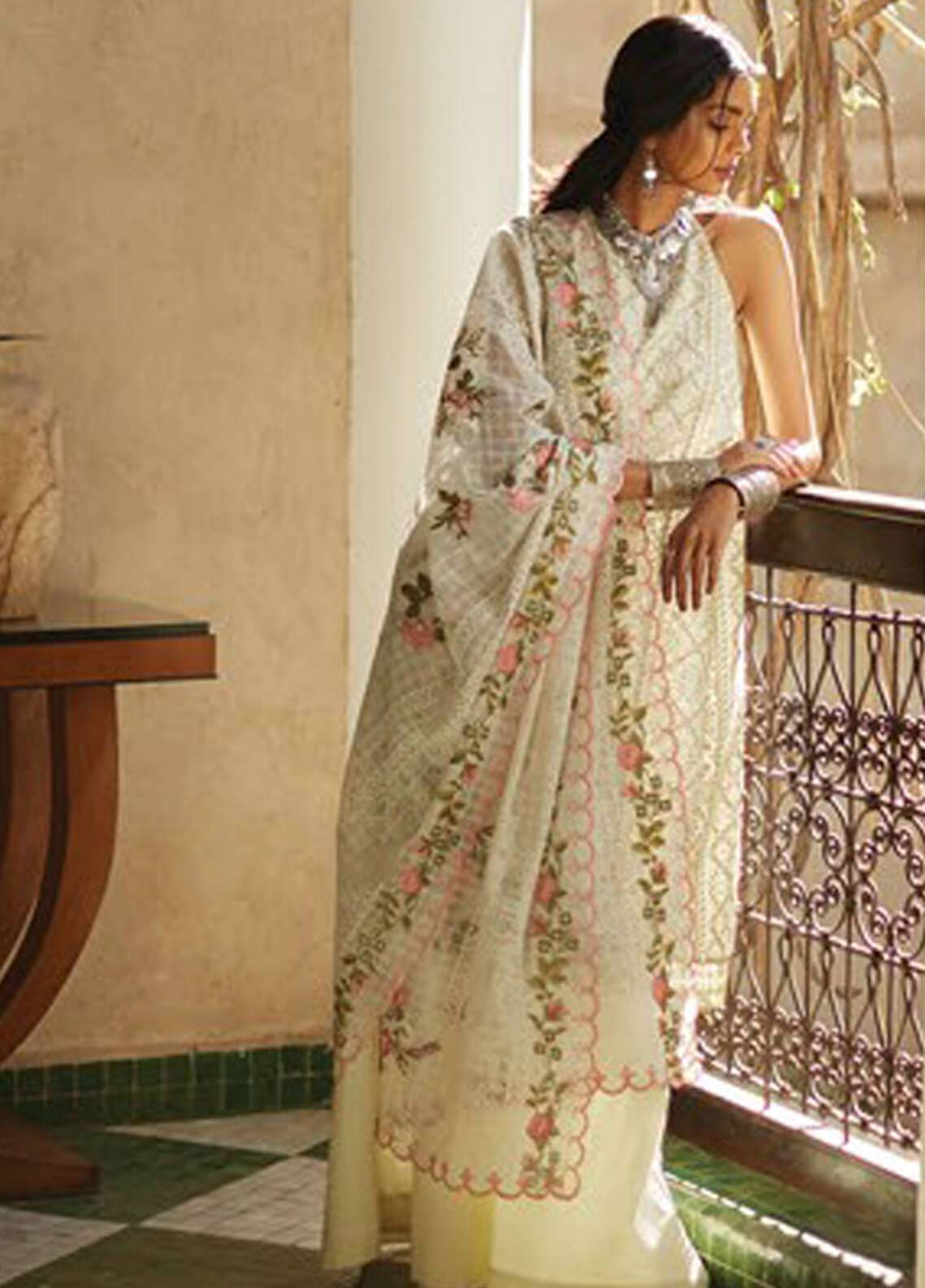 95793d1f37 Zara Shahjahan Embroidered Lawn Unstitched 3 Piece Suit ZSJ19L FIZA A -  Spring / Summer Collection