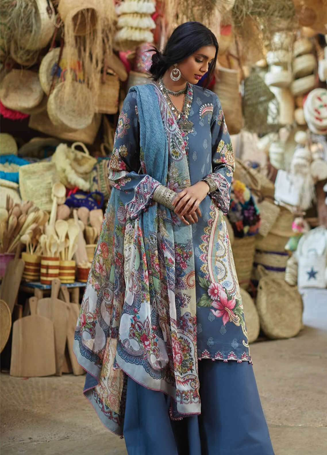 Zara Shahjahan Embroidered Lawn Unstitched 3 Piece Suit ZSJ19L LEHER A - Spring / Summer Collection