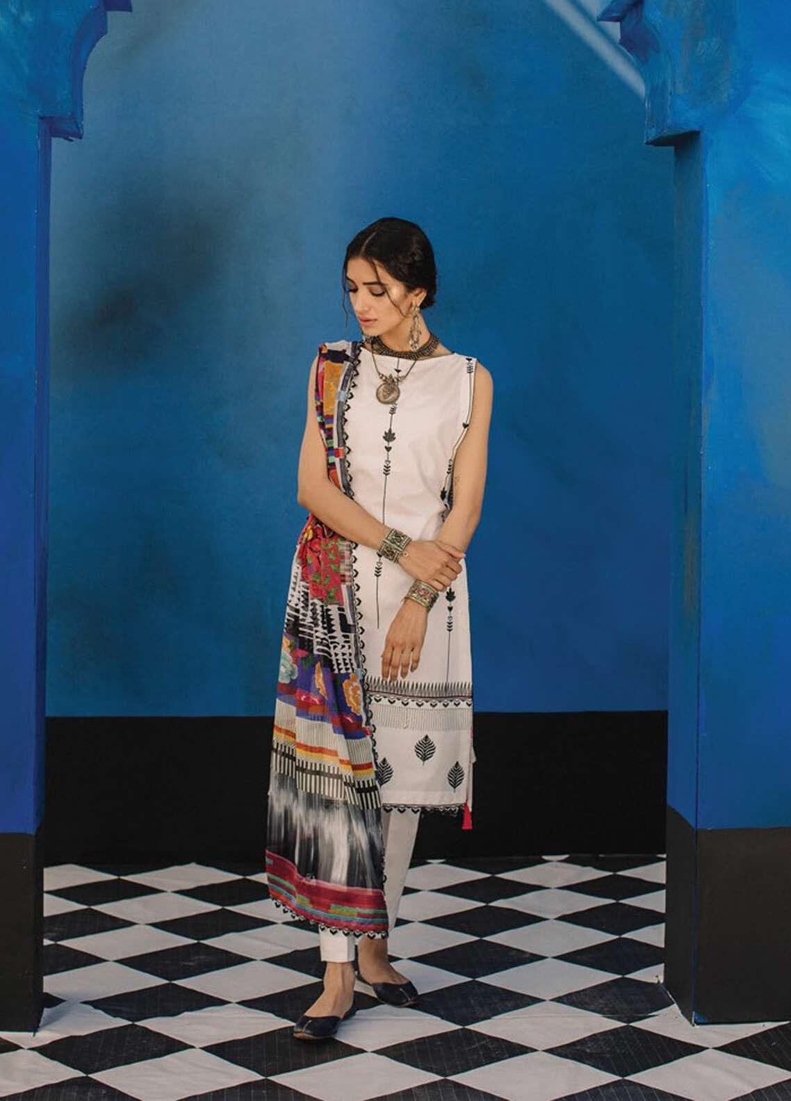 Zara Shahjahan Embroidered Lawn Unstitched 3 Piece Suit ZSJ19L MARRAKESH B - Spring / Summer Collection