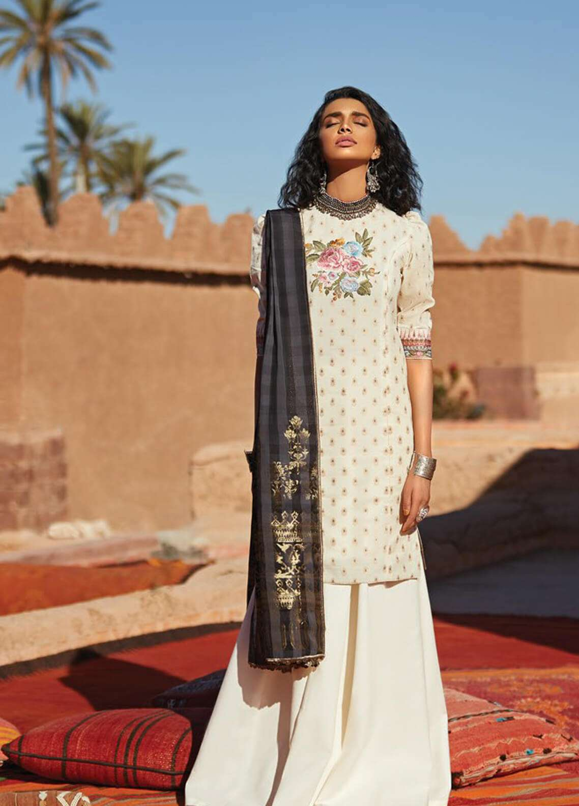 Zara Shahjahan Embroidered Jacquard Unstitched 3 Piece Suit ZSJ19L MEHERMA A - Spring / Summer Collection