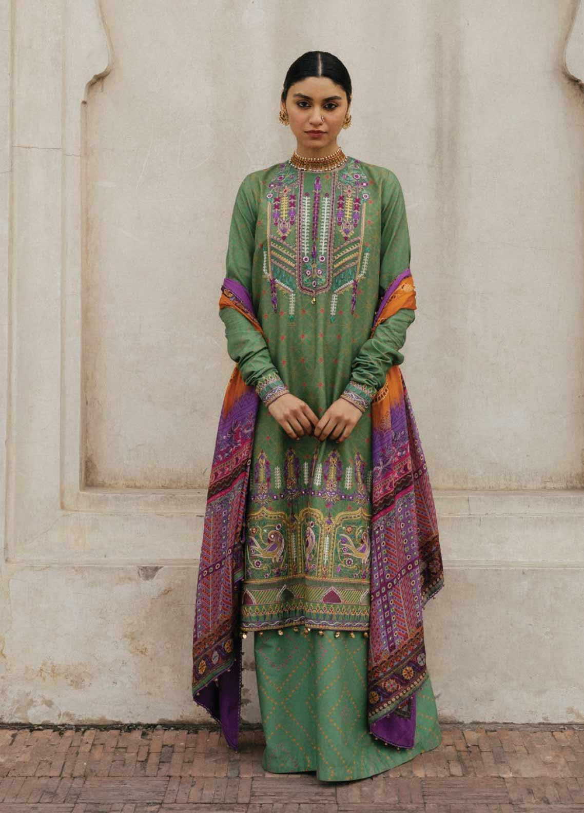 Zara Shahjahan Embroidered Lawn Unstitched 3 Piece Suit ZSJ20GL GUL BADAN-B - Spring / Summer Collection
