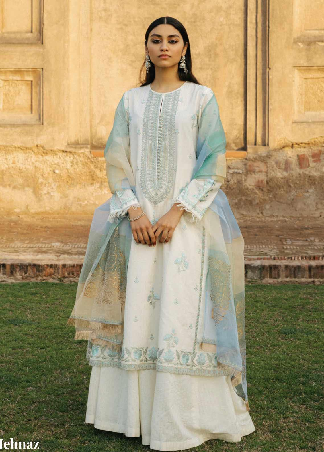 Zara Shahjahan Embroidered Jacquard Unstitched 3 Piece Suit ZSJ20GL MEHNAZ-A - Spring / Summer Collection