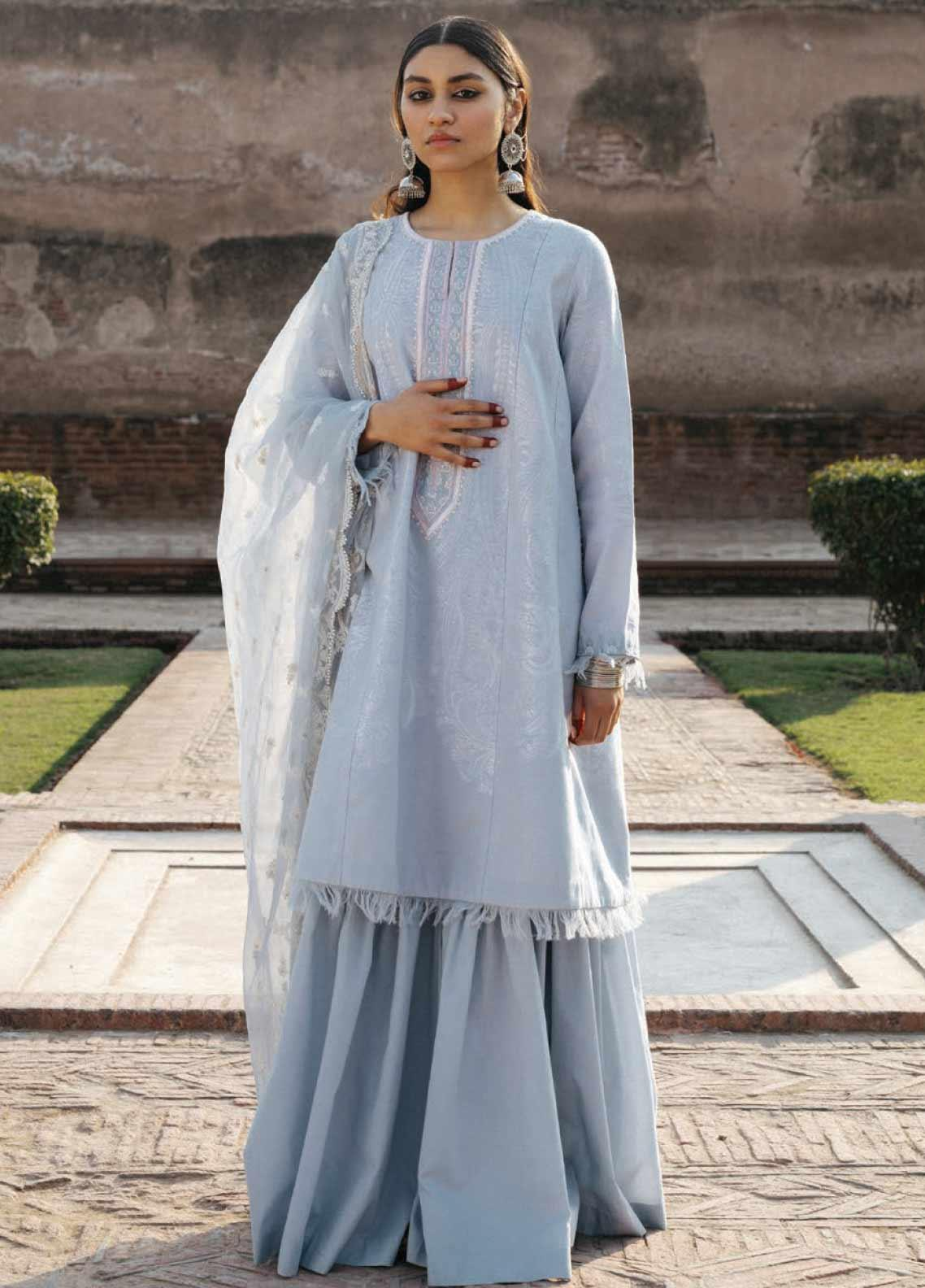 Zara Shahjahan Embroidered Jacquard Unstitched 3 Piece Suit ZSJ20GL MUMTAZ-A - Spring / Summer Collection