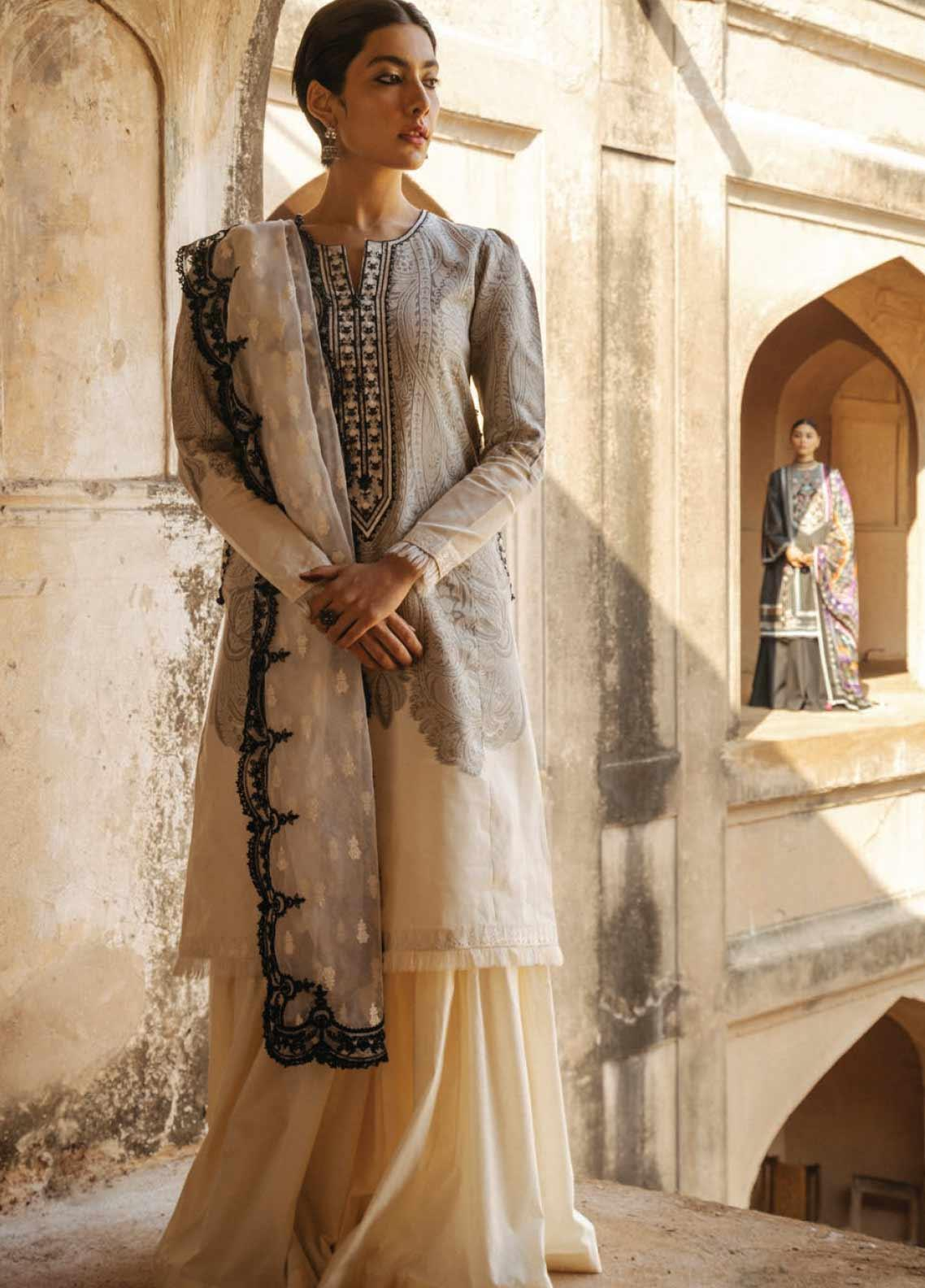 Zara Shahjahan Embroidered Jacquard Unstitched 3 Piece Suit ZSJ20GL MUMTAZ-B - Spring / Summer Collection