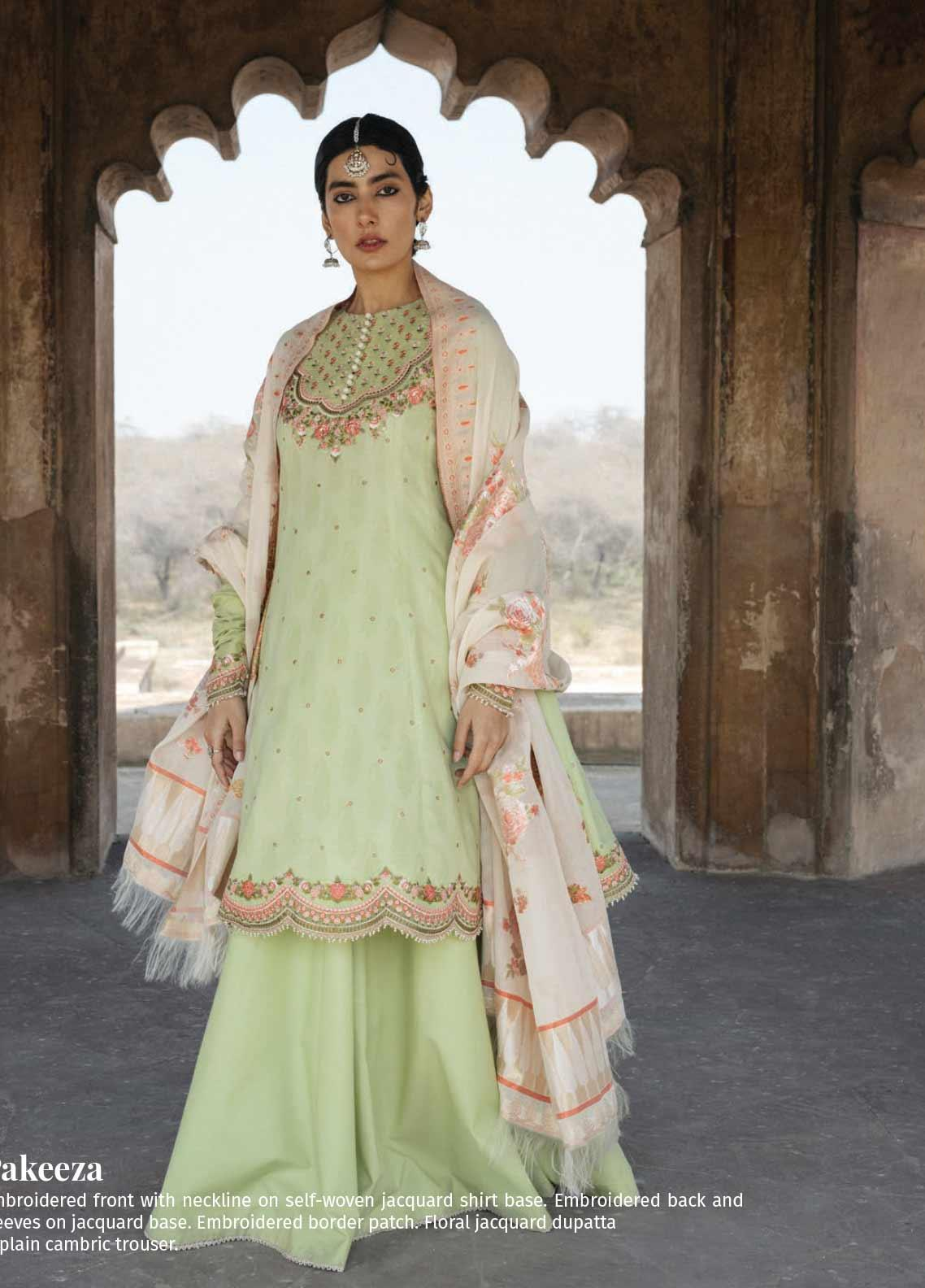 Zara Shahjahan Embroidered Jacquard Unstitched 3 Piece Suit ZSJ20GL PAKEEZAH-B - Spring / Summer Collection