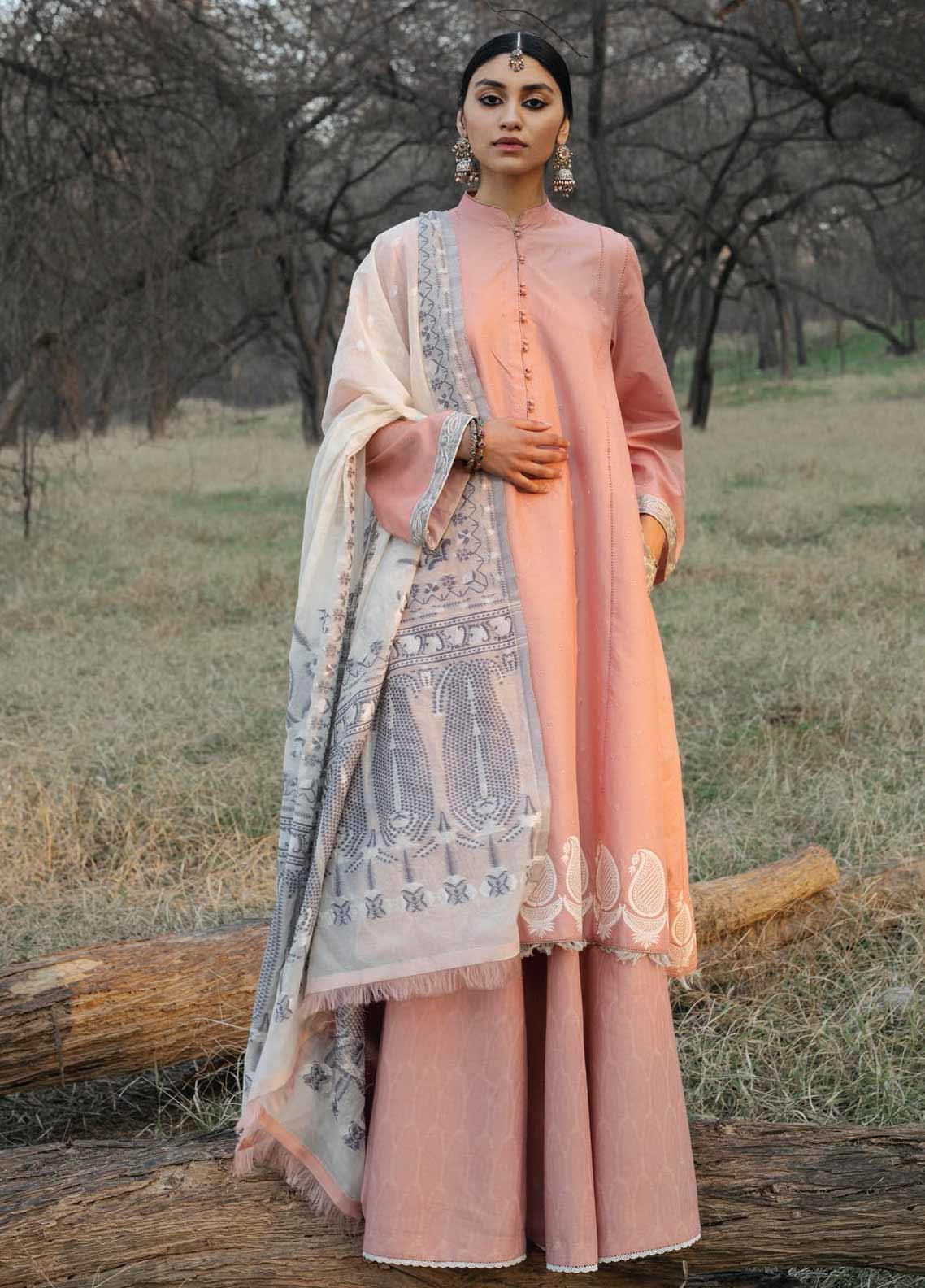 Zara Shahjahan Embroidered Schiffli Unstitched 3 Piece Suit ZSJ20GL SAHIBO-B - Spring / Summer Collection