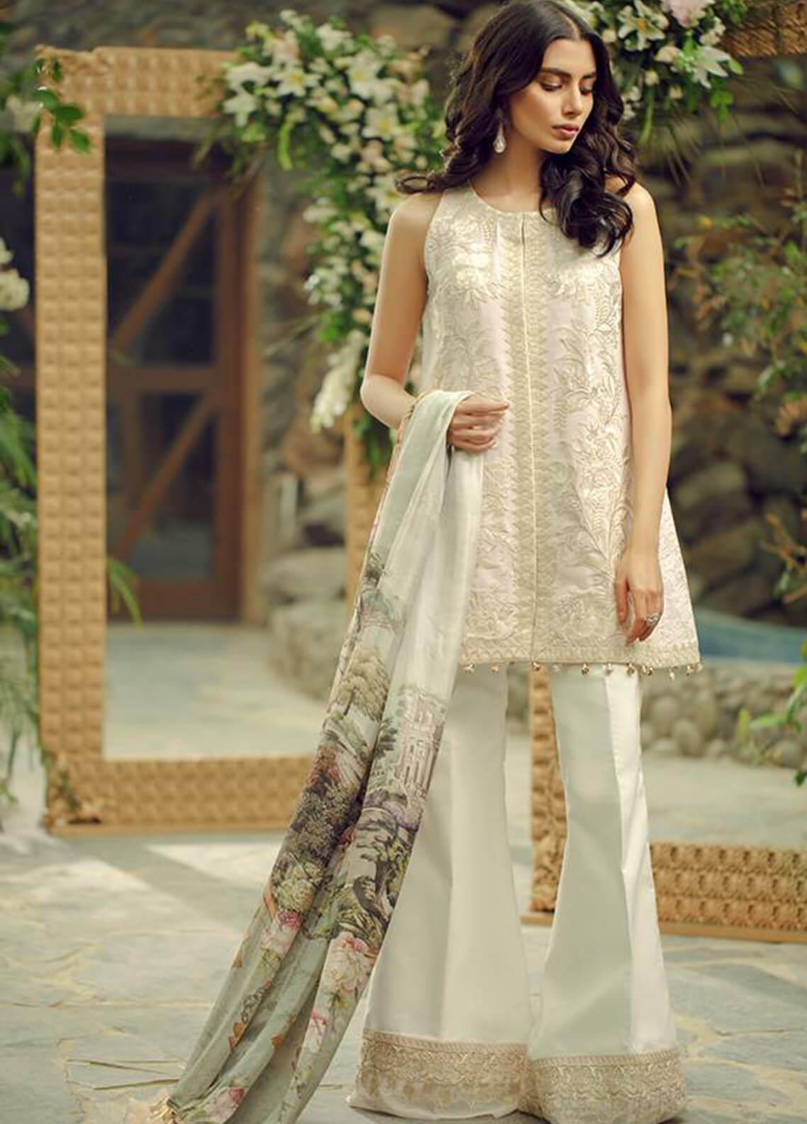 Zarqash Embroidered Swiss Voile Unstitched 3 Piece Suit ZRQ19L 1B - Festive Collection