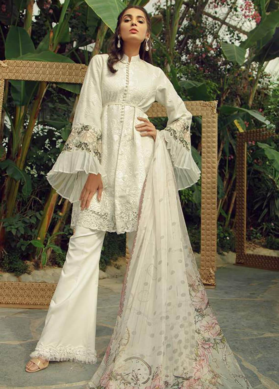 Zarqash Embroidered Lawn Unstitched 3 Piece Suit ZRQ19L 5B - Festive Collection