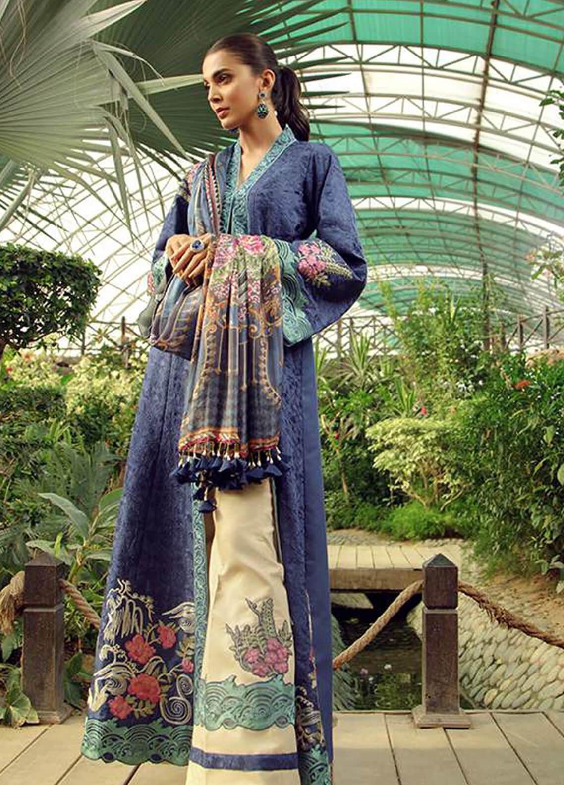 d79c7c6539 Zarqash Embroidered Jacquard Unstitched 3 Piece Suit ZRQ19L 6A - Festive  Collection