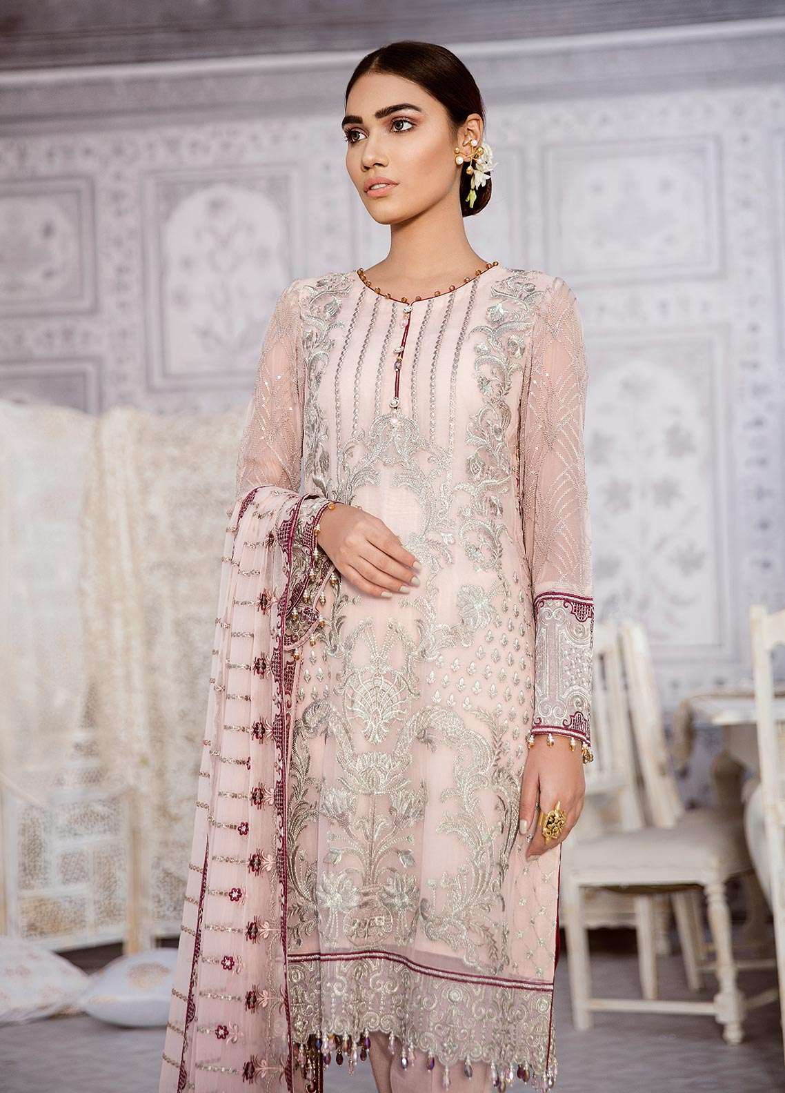 111afa27e9 Zaryab By Flossie Embroidered Chiffon Unstitched 3 Piece Suit FLZ18C 03 - Luxury  Collection