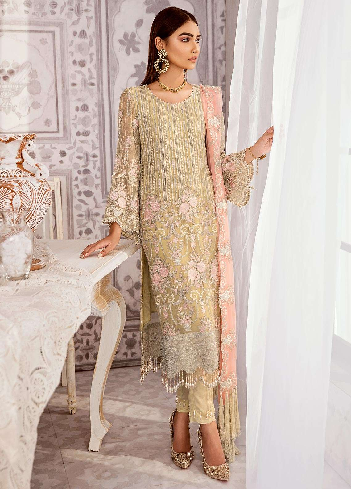 13746cce37 Zaryab By Flossie Embroidered Chiffon Unstitched 3 Piece Suit FLZ18C 05 - Luxury  Collection