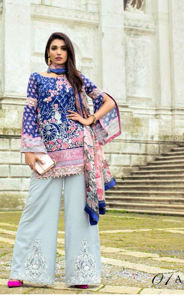Zainab Chottani Embroidered Lawn Unstitched 3 Piece Suit ZC17L 1A
