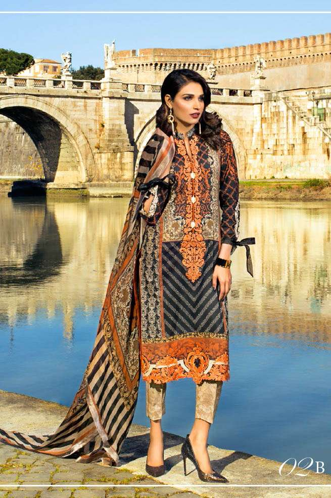 Zainab Chottani Embroidered Lawn Unstitched 3 Piece Suit ZC17L 2B