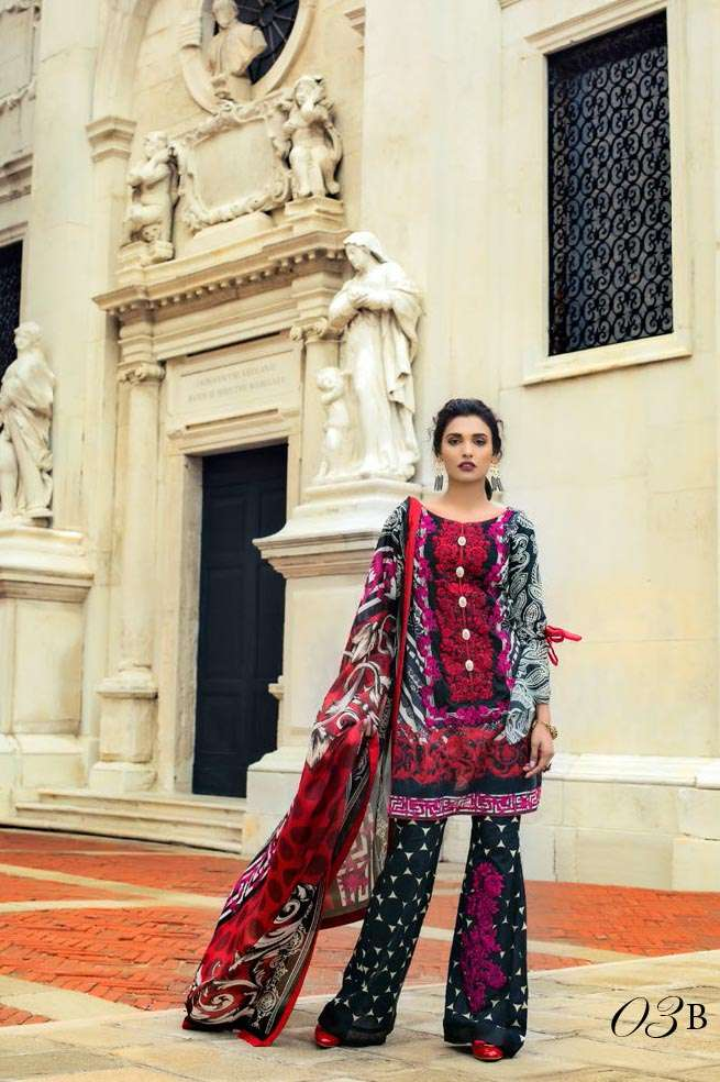 Zainab Chottani Embroidered Lawn Unstitched 3 Piece Suit ZC17L 3B