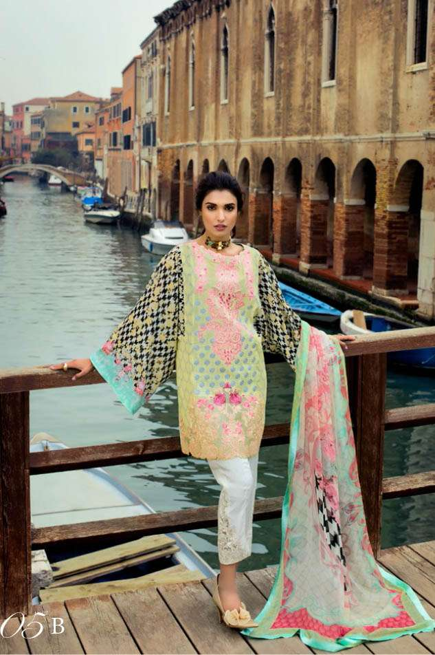 Zainab Chottani Embroidered Lawn Unstitched 3 Piece Suit ZC17L 5B
