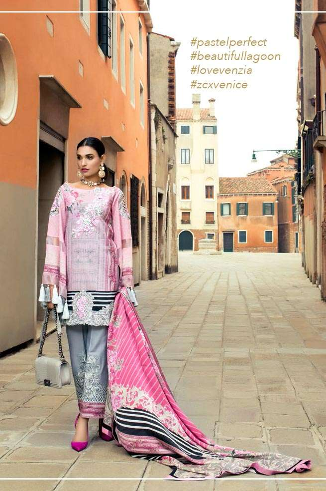 Zainab Chottani Embroidered Lawn Unstitched 3 Piece Suit ZC17L 6B