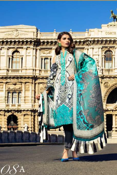 Zainab Chottani Embroidered Lawn Unstitched 3 Piece Suit ZC17L 8A