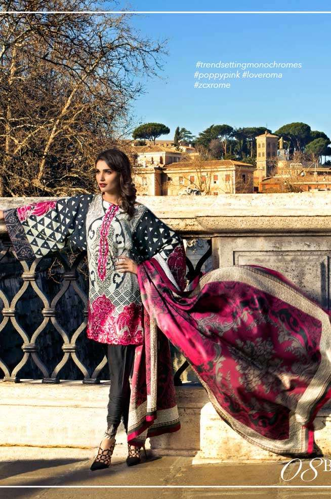 Zainab Chottani Embroidered Lawn Unstitched 3 Piece Suit ZC17L 8B