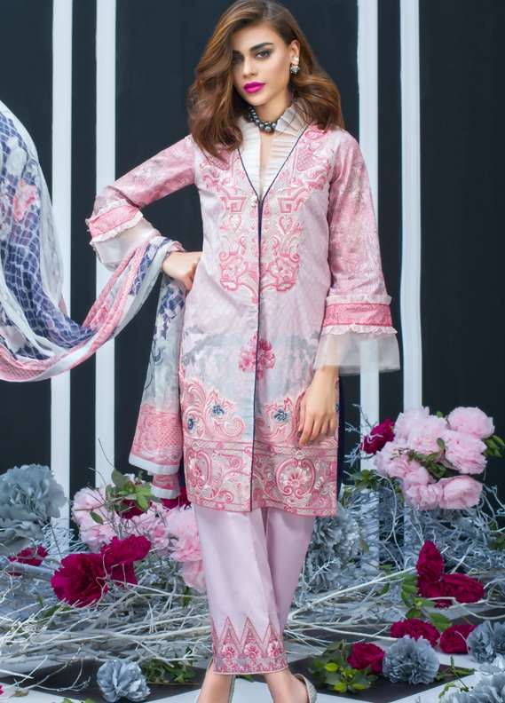 Zainab Chottani Embroidered Lawn Unstitched 3 Piece Suit ZC18L 1B - Spring / Summer Collection