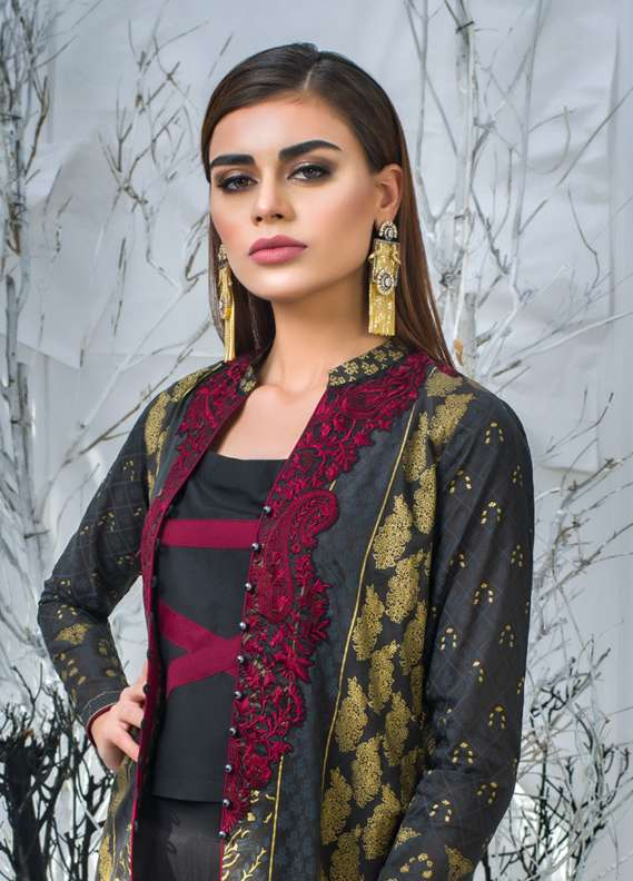 Zainab Chottani Embroidered Lawn Unstitched 3 Piece Suit ZC18L 4B - Spring / Summer Collection