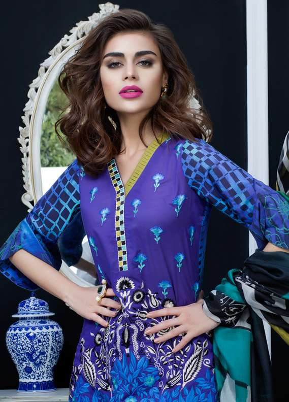Zainab Chottani Embroidered Lawn Unstitched 3 Piece Suit ZC18L 5A - Spring / Summer Collection