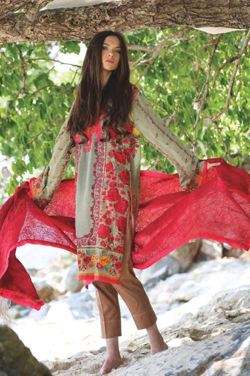 ZUNUJ Embroidered Cotton  Unstitched 3 Piece Suit ZJ17E 01