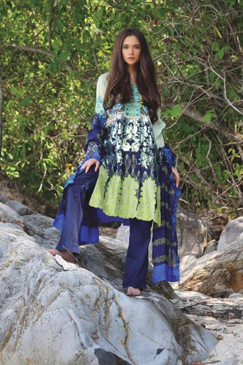 ZUNUJ Embroidered Cotton  Unstitched 3 Piece Suit ZJ17E 05