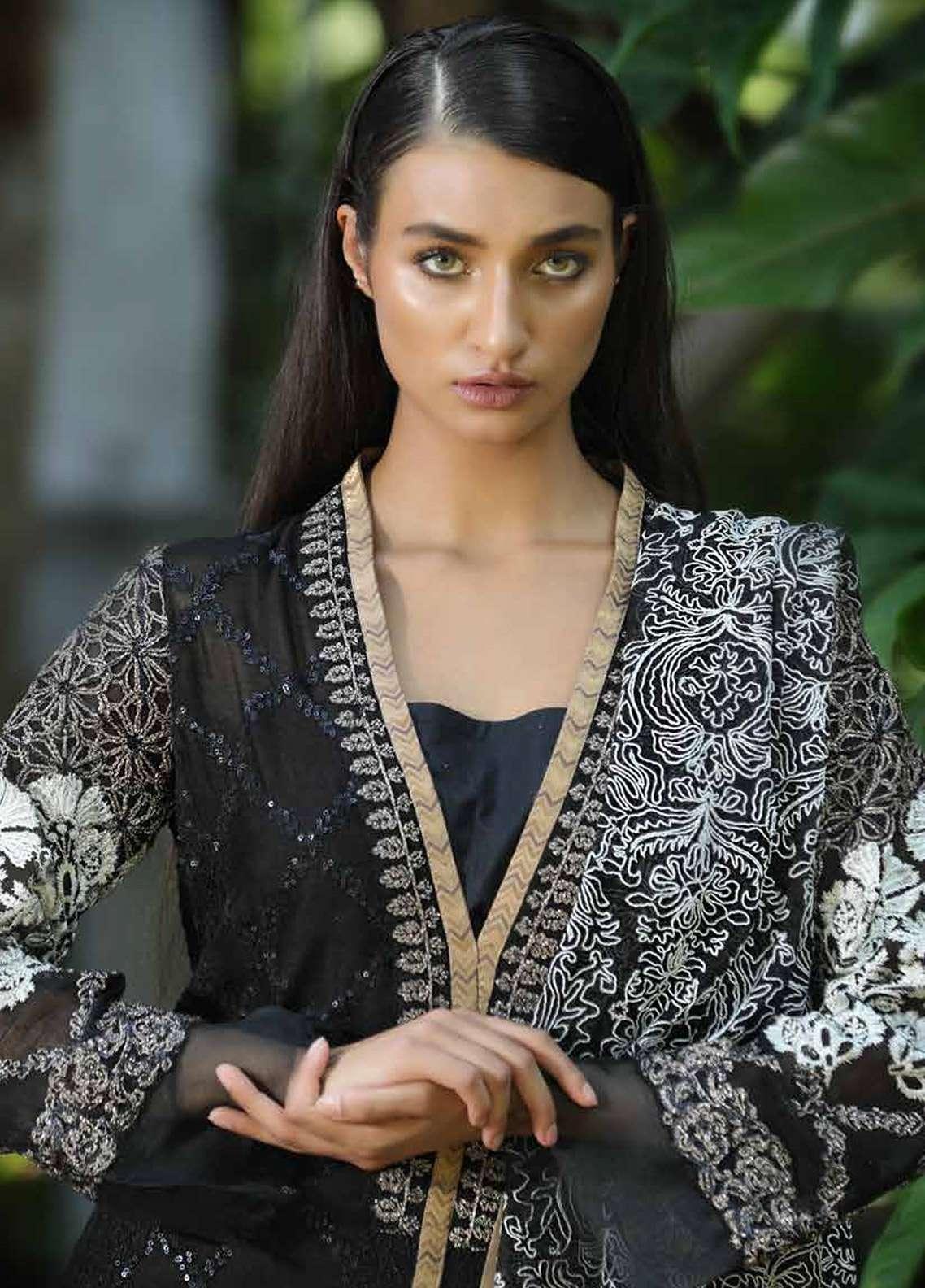Zunuj Embroidered Cotton Net Unstitched 3 Piece Suit ZJ18F 01 - Eid Collection