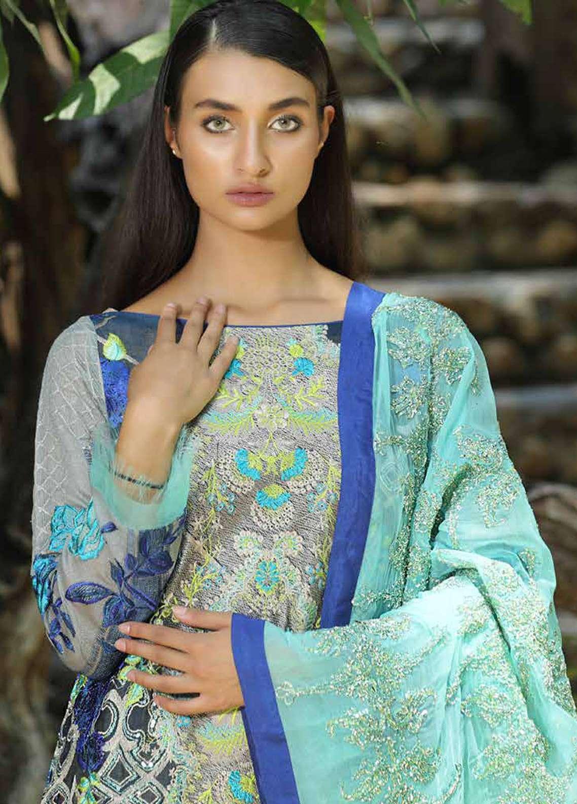 Zunuj Embroidered Cotton Net Unstitched 3 Piece Suit ZJ18F 02 - Eid Collection